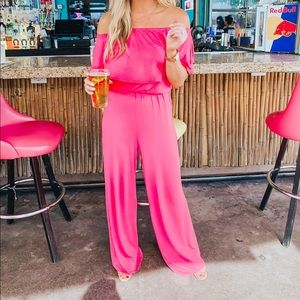 Beeson River Pink Off Shoulder Jumpsuit